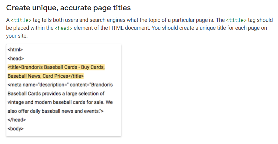 Google guidelines for filling out Title