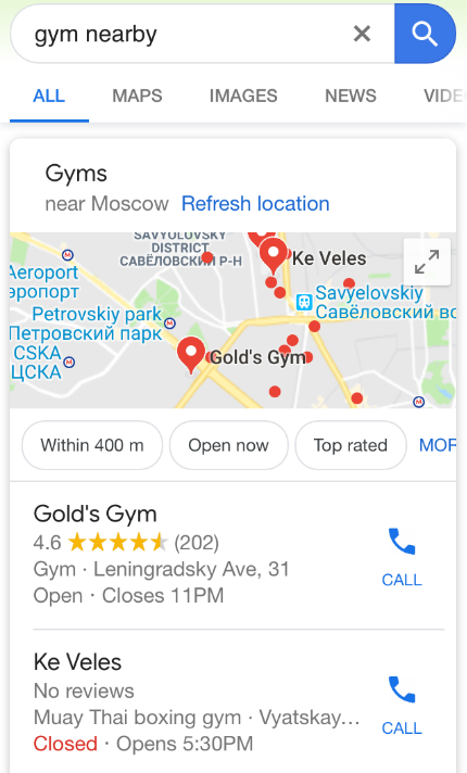 Local business and voice search in Google